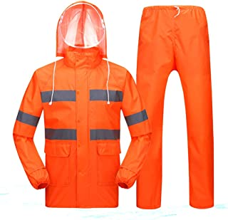 ZXAZBHD Raincoat Rain Pants Reflective Set Loading, Waterproof Single Split Thickening Double Mesh Rain Cloth Clothes Hiking,Camping (Color : Orange, Size : L(B))