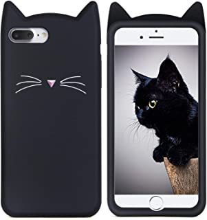 Joyleop Case for iPhone 7 Plus 8 Plus+,Cartoon Soft Silicone Cute 3D Fun Cool Cover,Kawaii Unique Kids Girls Lady Cases,Animal Character Rubber Skin Shockproof Protector for iPhone 7/8Plus Black Cat