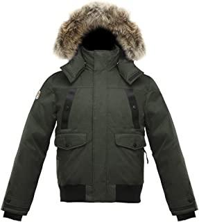 SAGA Collection   Norden Mens Hooded Goose Down Jacket Parka with Real Coyote Fur