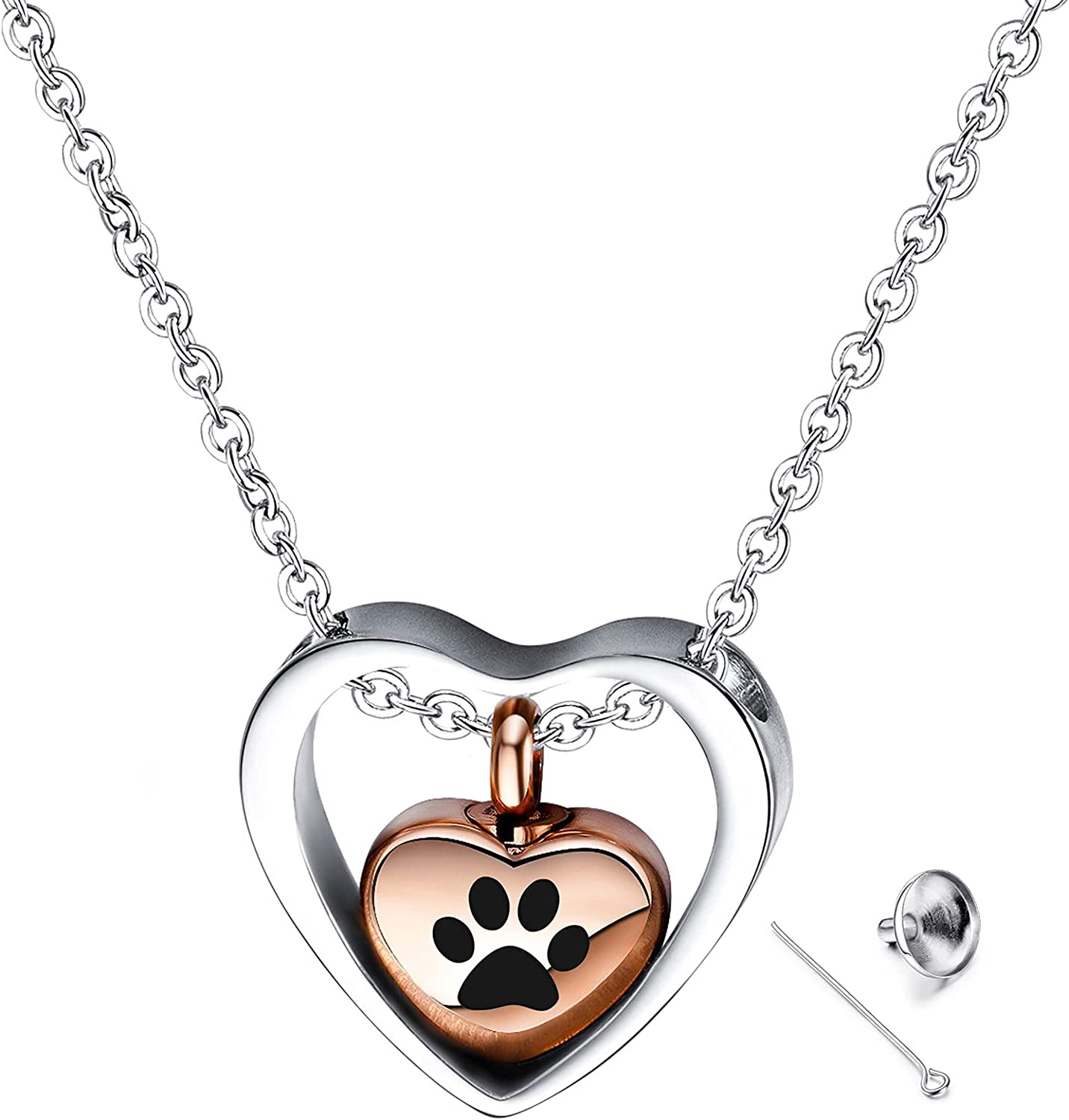 YOUFENG Love Heart Cremation Jewelry 14K Rose Gold Plated Urn Necklaces for Ashes Memorial Urn Locket Stainless Steel Keepsake Jewelry