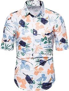 UUGYE Men Slim Sleeve Short Hawaii Beach Slim Fit Button Front Shirt