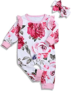 itkidboy Newborn Baby Girls Romper Jumpsuit Flower Long Sleeves Bodysuit + Headband 2Pcs Outfit Set Twins Clothes
