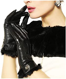 SHENTIANWEI Women's Leather Gloves Velvet with Hair Winter Fashion Warm Gloves (Color : Black, Size : L)