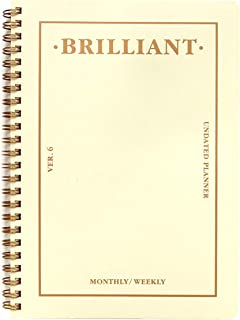 PAPERIAN Brilliant Monthly & Weekly Planner - Wirebound Undated Monthly &Weekly Planner Book Scheduler Diary (Ivory)