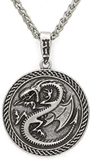 Norse Viking Dragon Wing Necklace for Men, Celtic Dragon Animal Necklace Vintage Dragon Circle Pendant Necklace for Boys