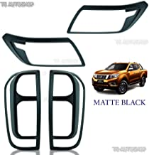 Powerwarauto Set Matte Black Front Head Lamp Light Rear Tail Lamp Cover Nissan Np300 Navara D23 4WD UTE Pick-Up 2015 16 17 18