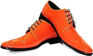 Modello Mandaro - Handmade Italian Mens Color Orange Oxfords Dress Shoes - Cowhide Patent Leather - Lace-Up