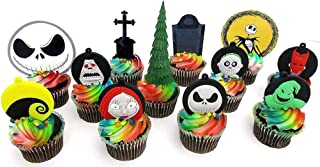 Nightmare Before Christmas Birthday Cake CUPCAKE Topper Set Featuring Jack Skellington and Friends with Themed Decorative Accessories