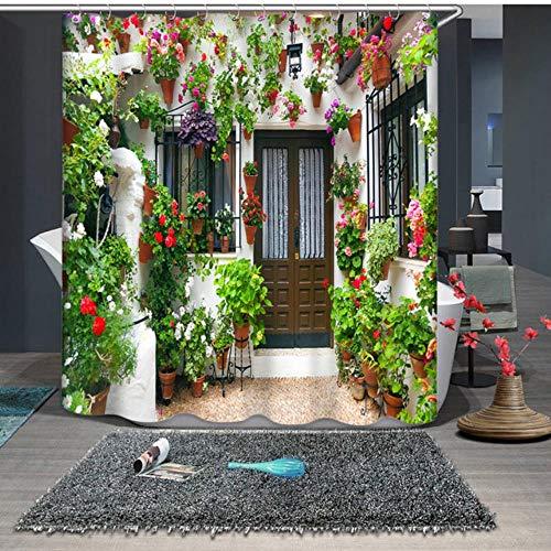 CDFD 3D kleurrijke straat Alley patroon douchegordijnen badkamer gordijn waterdicht bad gordijn, kleur C, W165 x H180cm