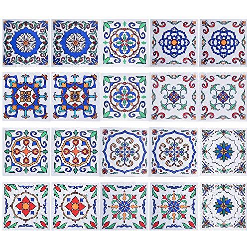IRICH 20 Pezzi 15x15 Adesivi per Piastrelle, Impermeabile PVC Autoadesivo Decorazione, Adesivi Pavimento per Bagno Cucina Parete Fai da Te