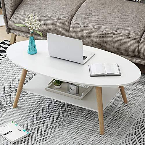 CFJJOAT Wohnzimmermöbel Ovaler Couchtisch aus massivem Holz mit 2 Etagen Regal Beistelltisch Wohnzimmer Sofa