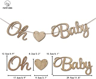 PAPA LONG for a Keepsake Design Highend Rustic Wood OH Baby Banner for Baby Shower Boy and GILR Decoration