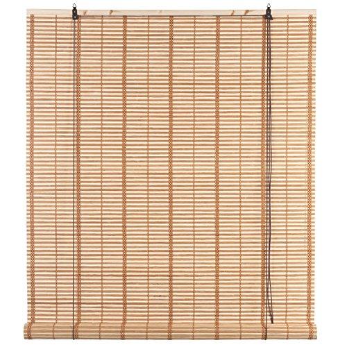Ev Rollo Atlanta Natural aus Bambus mit Seilzug, 100 x 160 cm, für Fenster, Privatsphäre, Licht