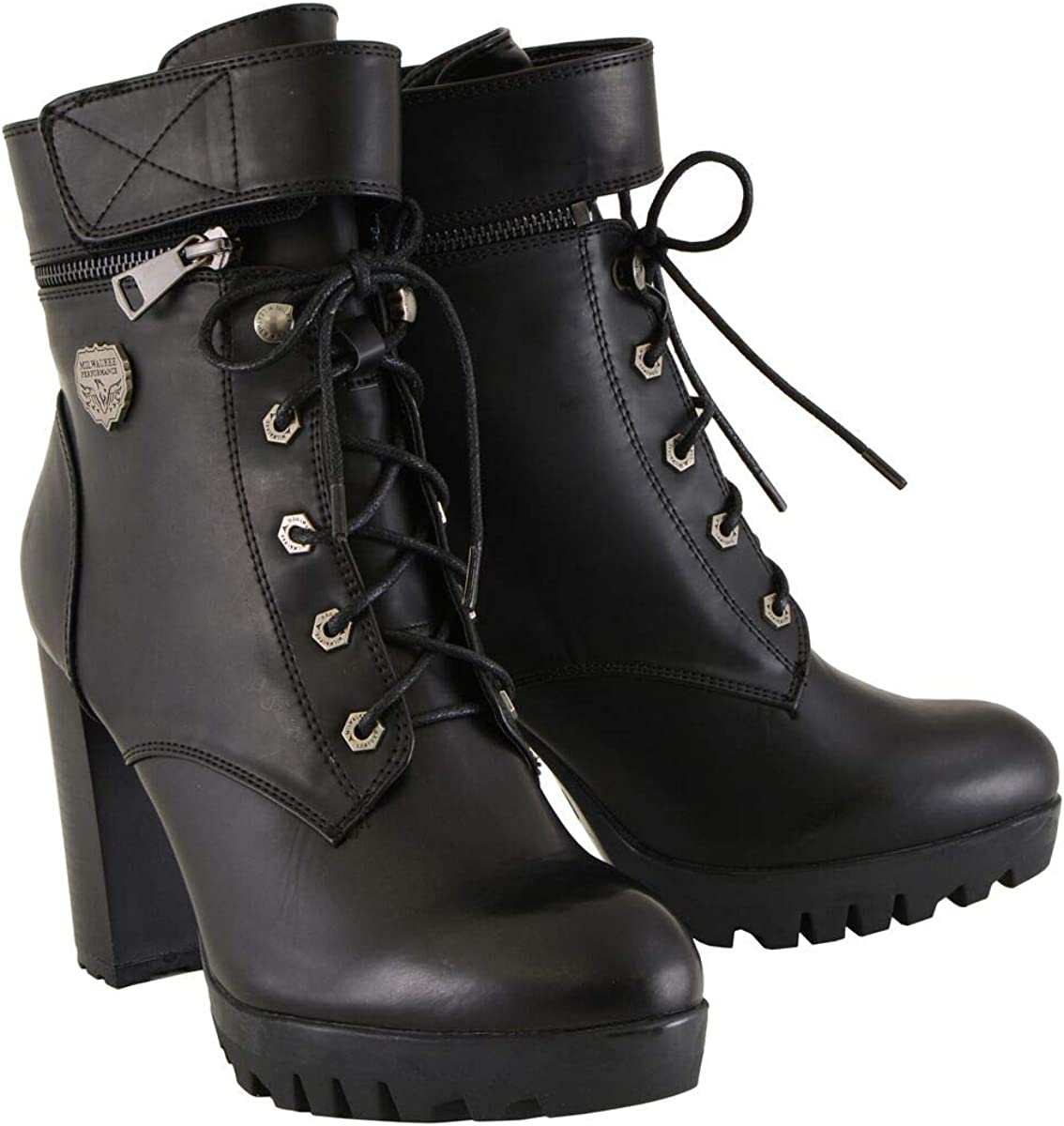 Milwaukee Leather MBL9425 Women's Black Lace-Up Boots with Double Height Option