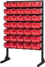 Juego de 35 contenedores de almacenamiento de acero para talleres/garajes, resistentes, para herramientas, rojo