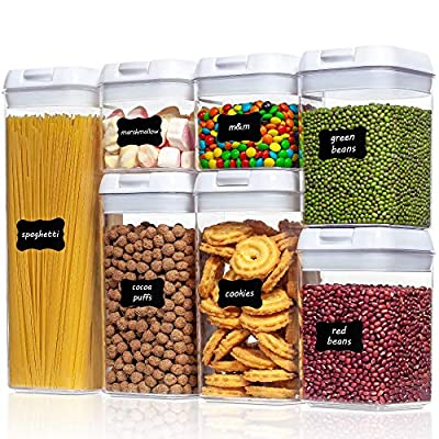 Airtight Food Storage Containers, Vtopmart 7 Pieces BPA Free Plastic Cereal Containers with Easy Lock Lids, for Kitchen Pantry Organization and Storage, Include 24 Labels by Vtopmart