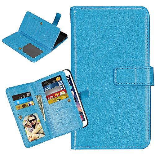 Laybomo Schuzhülle für LG K7 / X210 Hülle Ledertasche Weiches Silikon TPU Beutel Stehen Bilderrahmen, 9 Kartensteckplatz, Brieftasche Schale Handyhülle für LG K7 / X210 (Blau)