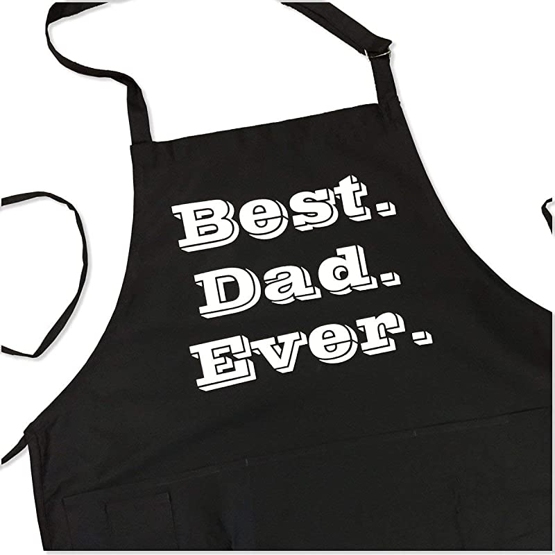 Best Dad Apron Best Dad Ever Funny BBQ Apron For Dads 1 Size Fits All Chef Quality Poly Cotton 4 Utility Pockets Adjustable Neck And Extra Long Waist Ties