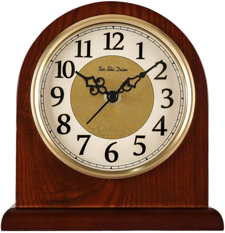 デスククロックファミリークロックマントル/マントルクロックレトロミュートサイレントクォーツウッドシェルフクロックリビングルームの机の装飾リビングルームの寝室に適しオフィス(サイズ:S)