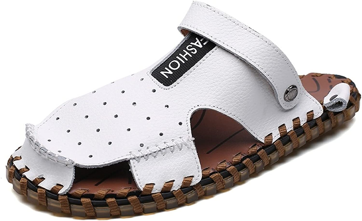 ANNFENG Fashion Tropical Summer Outdoor Casual Lightweight Waterproof Men's Beach Slippers, Comfort Elegant Business Leisure Breathable Perforation Genuine Leather Non-slip Sole Sandals Switch Backles