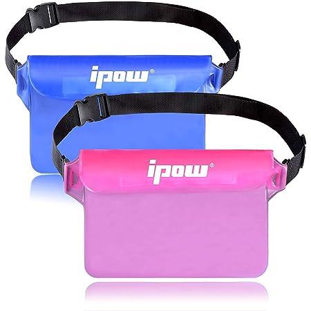 Ipow Wasserdichte Tasche Beutel Hülle Unterwassertasche Bauchtasche vollkommen für iPhone, Handy, Kamera, iPad, Bargeld, Dokumente vor Wasser schützen - Farbe Wählbar: Blau/Grau/Pink/Gelb/Weiß/Schwarz