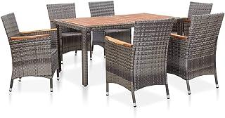 Festnight Set de Muebles de Jardín 7 pzas Conjunto de Mesa y Sillas de Jardin 1 Mesa de Comedor y 6 Sillas Ratán Sintético Gris