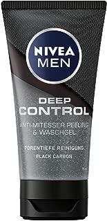 NIVEA MEN Deep Control Anti-Mitesser Peeling und Waschgel im 3er-Pack 3 x 75 ml, Gesichtsreinigung, porentiefe Reinigung mit Peeling fürs Gesicht