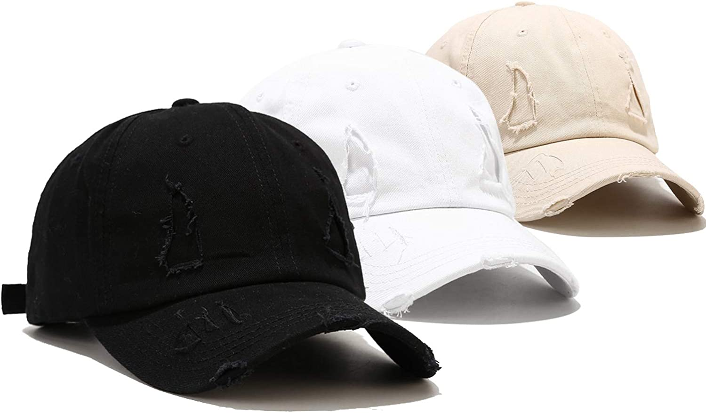 3 Pack Baseball Cap Vintage Distressed Low Profile Unstructured Cotton Dad Hat Adjustable for Women Men
