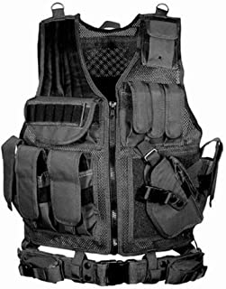 Tactical Vest Durable Mesh Vest Breathable Combat Training,with Detachable Belt and Holster for Nerf Guns N-Strike Elite Series for Ultra-Compact/Compact/Standard Pistol Survival Game,Combat Training