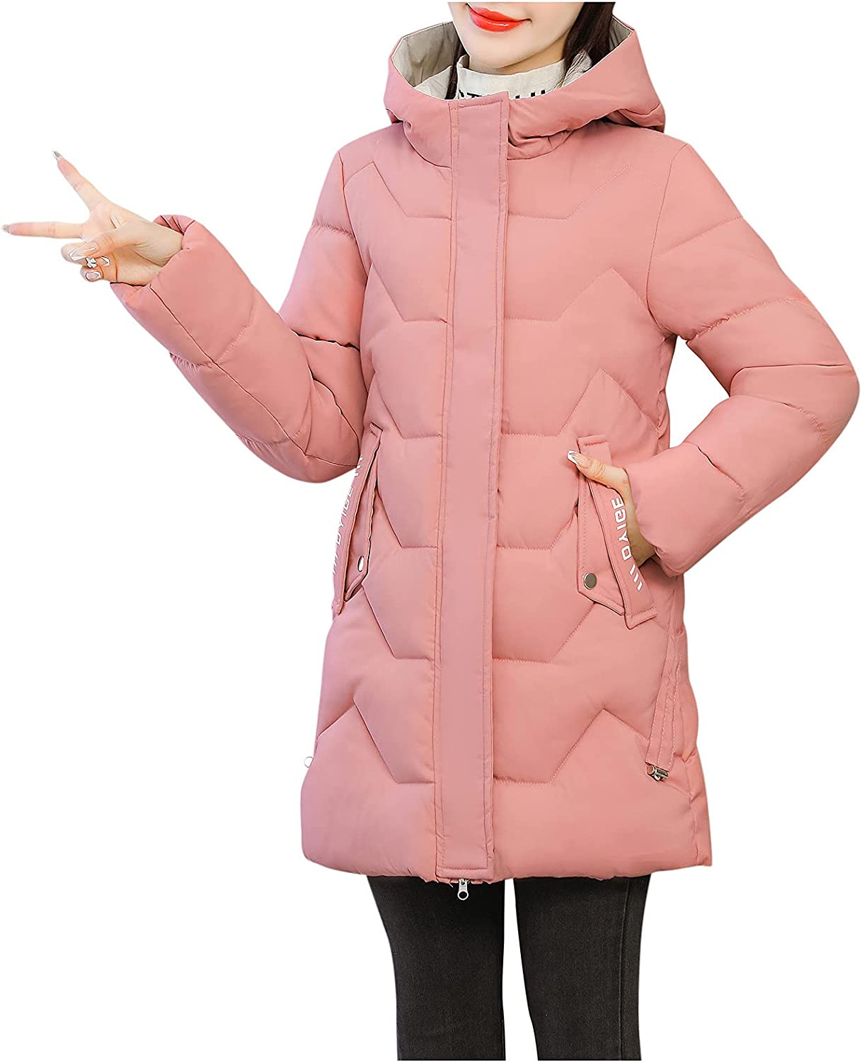 ManxiVoo Women's Winter Down Coat Quilted Jacket with Hood Padding Jacket Outercoat with Pocket