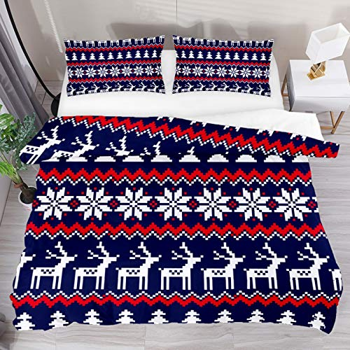 Christmas Reindeer Tree Ethnic 3 Piece Duvet Cover Set Twin Size 55'x79' Soft Quilt Cover Decorative Bedding Sets 1 Duvet Cover 2 Pillowcase Polyester Bedspread