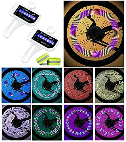 IGYLAR Rechargeable LED Bike Wheel Lights(2 Tires), Waterproof LED Bicycle Spoke Lights with 30 Different Patterns 2 Extra Night Refletive Bands, Easy to Install, Suitable Gift for Kids and Adults
