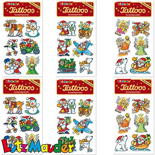 Mega Tattoo-set * Kerstman & Sinterklaas * voor adventskalender en decoratie | 6 vellen met 36 tattoos | plus boek: spel + plezier met tattoos en stickers voor kinderen | kindertattoo verjaardag