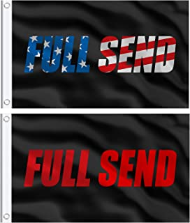 Boao 2 Pieces Full Send Banner Flag 3 x 5 Feet College Dorm Flags with 2 Brass Flag Grommets in American Font and Red Fron...