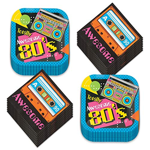 80s Party Dessert Plates and Napkins - Totally Awesome Throwback Theme (Serves 16)