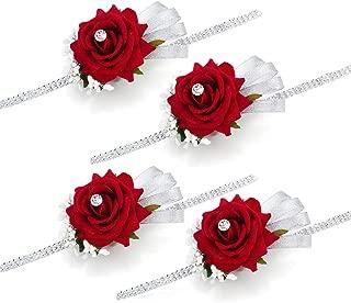 FAYBOX Velvet Open Rose Silvery Bling Ribbon Rhinestone Stretch Bracelet Wedding Prom Wrist Corsage Hand Flower Pack of 4 Red