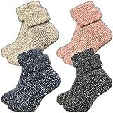 ca·wa·so Damen Stoppersocken aus Wolle | ABS Sohle (1er-Pack | 4er-Pack) (35-38, farbig |...