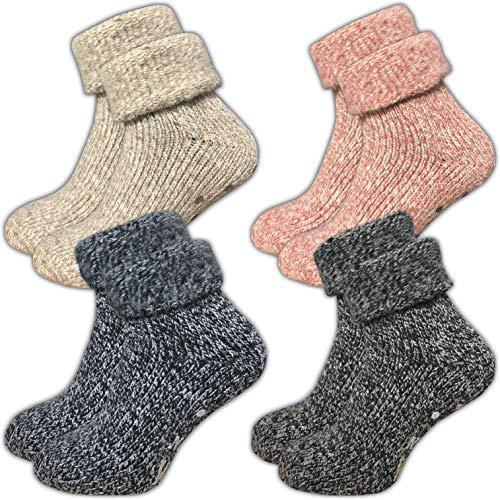 ca·wa·so Damen Stoppersocken aus Wolle   ABS Sohle (1er-Pack   4er-Pack) (35-38, farbig   4er-Pack)
