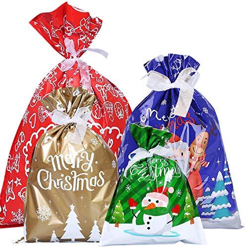 Tuopuda Sacchetti Regalo con Coulisse 30 Pezzi Sacchetti Caramelle Natalizi Sacchetti Portaconfetti Set Sacco di Natale Buste Sacchettini per Festa di Natale Compleanno Confezioni Regalo Caramella