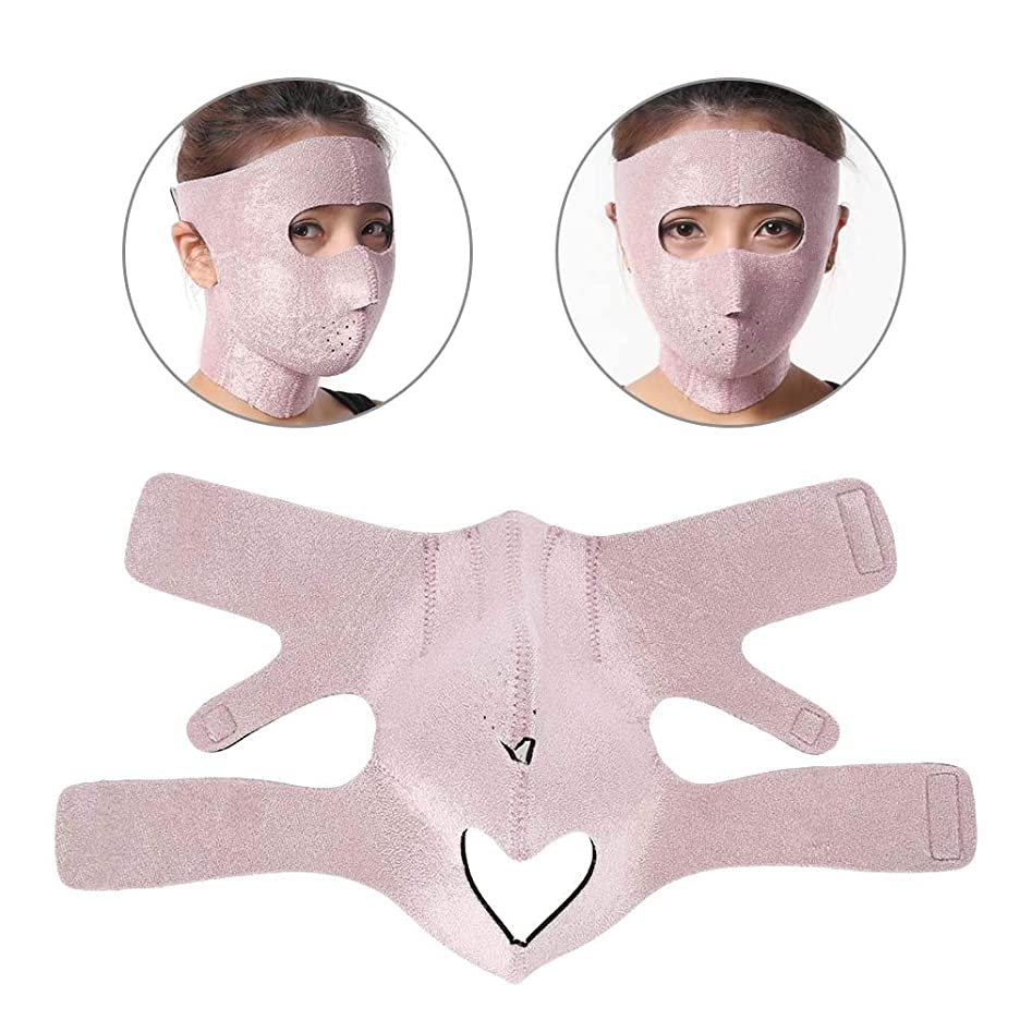 ジュース手書き黙認する顔の輪郭を改善する 美容包帯 フェイスリフト用フェイスマスク 通気性/伸縮性/変形不可