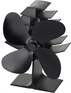 The Three Musketeers 4-Blade Heat Powered Wood Stove Fan - Ultra Quiet Fireplace Wood Burning Eco-Friendly Fan Efficient Heat Distribution – Black