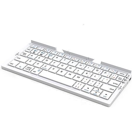 iClever Bluetoothキーボード 折りたたみ式 二つ折り スタンド一体型 軽量 薄型 ワイヤレスキーボード iPad&iphone用 IOS/Android/Windowsに対応 IC-BK11 (シルバー)