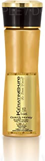 Keratin Cure Best Treatment Gold & Honey V2 LGel STRONG Intensive Extracts Professional Complex with Nourishing Straightening Damaged Dry Frizzy Coarse Curly African Ethnic Wavy Hair (160ml/ 5 fl oz)