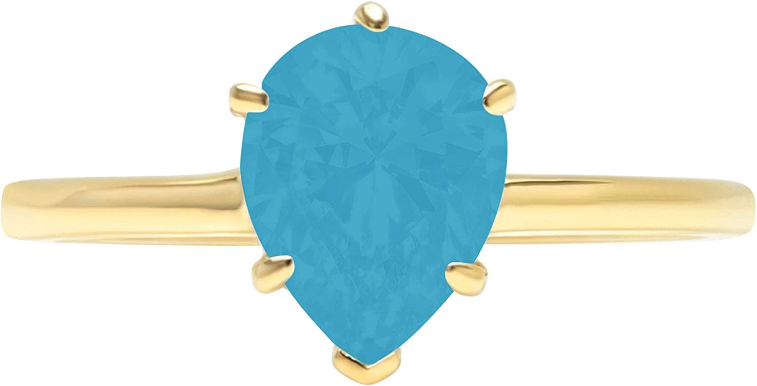 2.4ct Brilliant Pear Cut Solitaire Flawless Simulated Cubic Zirconia Blue Turquoise Ideal 6-Prong Engagement Wedding Bridal Promise Anniversary Designer Ring Solid 14k Yellow Gold for Women
