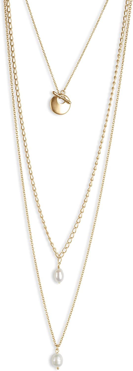 Lucky Brand Pearl Chain Layer Necklace, Gold