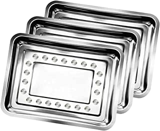 Jconly 3 Pack Tattoo Piercing Stainless Steel Trays 13.5'' x 10'' Tattoo Tray Dental Body Medical Tray Instrument Tray For Eyebrow Lip Makeup Piercing Tattoo Sterilization for Tattoo Supplies
