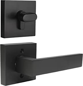 Probrico Flat Black Passage Door Lever with Single Cylinder Deadbolts Combo Pack, Modern Square Lock Set Handleset,Exterior Door Handle and Deadbolts Set,Exterior Door Lever Passage