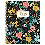 2021-2022 Teacher Planner - Weekly & Monthly Lesson Plan Book with Flowers Hardcover, July 2021 - June 2022, Academic Planner with Twin-Wire Binding for Teachers, 8' x 10'