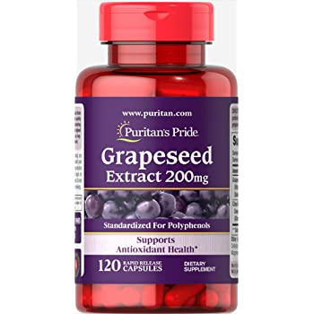 Puritans Pride Grapeseed Extract 200 Mg Capsules, 120 Count