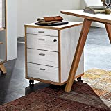 Pharao24 Schreibtisch Rollcontainer in Weiß Eiche abschließbar